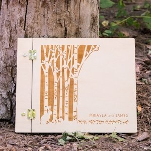 Woodland Pretty Personalized Wooden Guest Book image