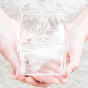 Feather Whimsy Personalized Alternative Wedding Ring Box image