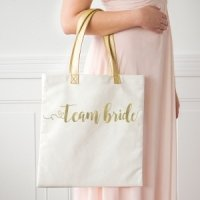 Team Bride and Bride Gold Foil Canvas Tote
