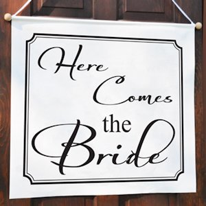 Here Comes the Bride Wedding Sign (17 Colors) image