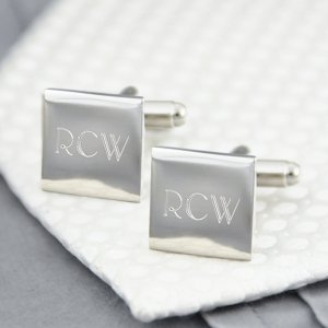 Engraved Silver Square Cufflinks with Initials image