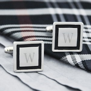 Black Border Engraved Initial Cuff Links image