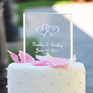 Personalized Acrylic Wedding Cake Topper - Square image