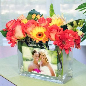 Personalized Rectangular Glass Photo Vase image