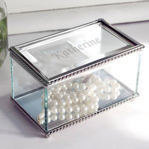 Personalized Beveled Glass Jewelry Box Bridesmaid Gift image