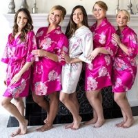 Personalized Floral Satin Robes (5 Colors)