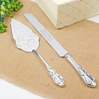 Embossed Vintage Personalized Wedding Cake Server Set