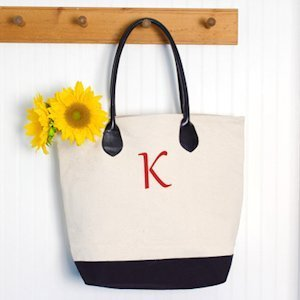 Personalized Canvas Tote with Leather Straps image