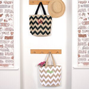 Personalized Chevron Natural Jute Tote Bags image