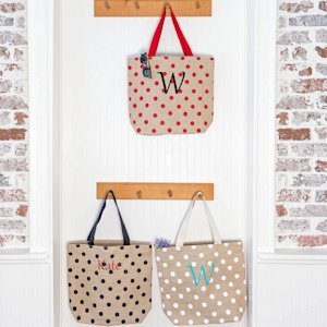 Personalized Polka Dot Natural Jute Tote Bags image
