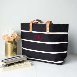 Personalized Striped Tote with Leather Handles (5 Colors) image