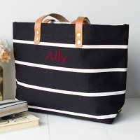 Personalized Striped Tote with Leather Handles (5 Colors)
