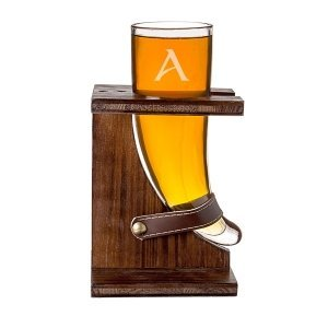 Personalized Glass Viking Beer Horn with Rustic Stand image