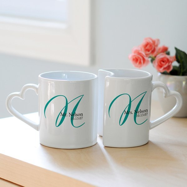 Engraved Wedding Mugs : Personalized Initial Wedding Mug Set