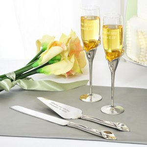 Silvery Lily Champagne Flutes and Cake Server Set image