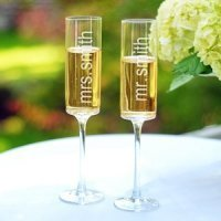Contemporary Engraved Wedding Champagne Flutes (Set of 2)