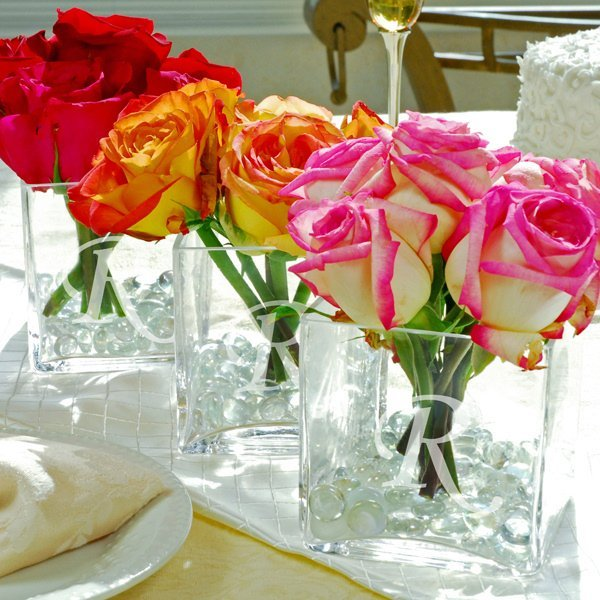 Engraved glass vase centerpiece