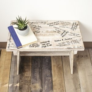 Personalized Rustic Wooden Guest Book Bench image