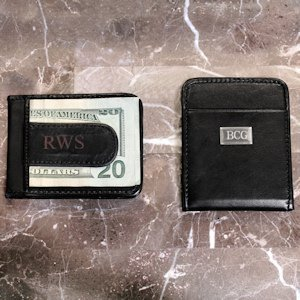 Personalized Leather Money Clip Wallet image