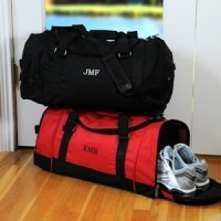 Deluxe Personalized Sports Duffle Bags (Red or Black)