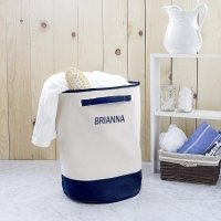 Personalized Round Canvas Storage Hamper (Grey or Navy)