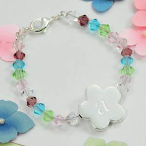 Personalized Flower Girl Crystal Charm Bracelet image