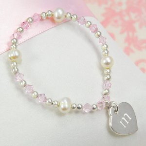 Personalized Girl's Heart Charm Bracelet image