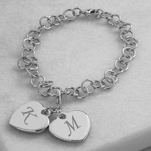 Personalized Double Heart Charm Bracelet image