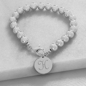 Personalized Silver Bead Bracelet image