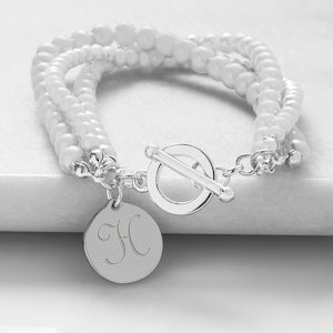 Personalized Triple Strand Pearl Bracelet image