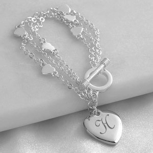 Personalized Triple Strand Heart Bracelet image