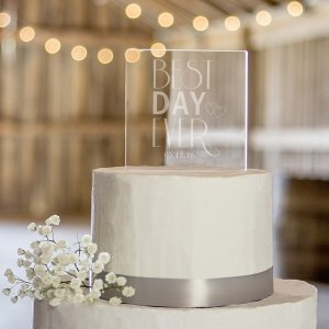 Personalized Best Day Ever Acrylic Square Cake Topper image