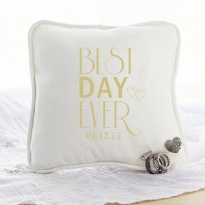 Personalized Best Day Ever Ring Bearer Pillow with Heart Pin image