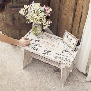 Personalized Rustic Heart Wooden Guest Book Bench image