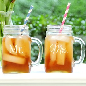 Mr. and Mrs. Old Fashioned Drinking Jar Set image