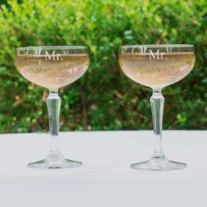 Same Sex Wedding Mr. & Mr. Champagne Coupe Toasting Flutes image