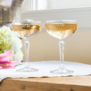 Same Sex Mrs. & Mrs. Champagne Coupe Toasting Flutes image