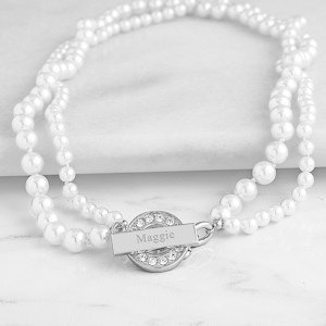 Personalized Pearl Necklace with Rhinestone Toggle image