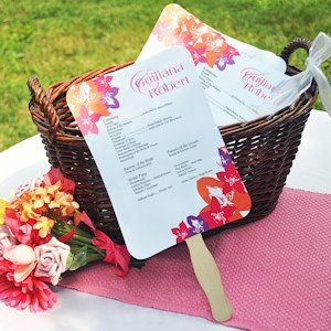 DIY Wedding Program Fans Kit with Design Template image