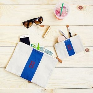 Personalized Stitched Stripe Canvas Clutch Set (2 Colors) image