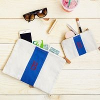 Personalized Stitched Stripe Canvas Clutch Set (2 Colors)