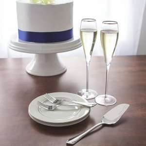 Personalized Silver Rim Champagne Flutes & Cake Serving Set image