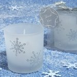 Silver Glitter Snowflakes Candle Favors