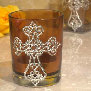Blessed Events Amber Cross Candle Holder image