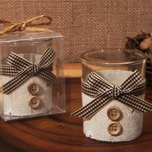 Burlap and Buttons Rustic Candle Holder Favors image