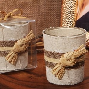 Rustic Burlap Candle Holder Favors image