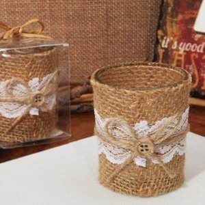 Burlap and Lace Rustic Candle Holder Favor image