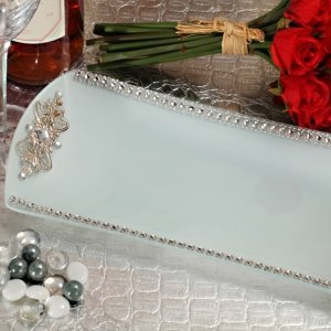 Rectangular Glass Tray with Crystal Accents Wedding Favor image