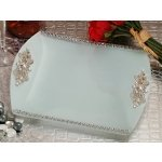 Elegant Square Glass Tray with Crystal Accents