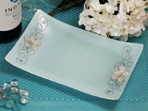 Rectangular Glass Tray Favors with Silver Floral Accents image
